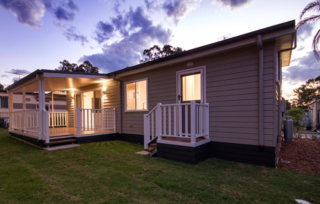 Backyard of a Modular Home in a Lifestyle Village