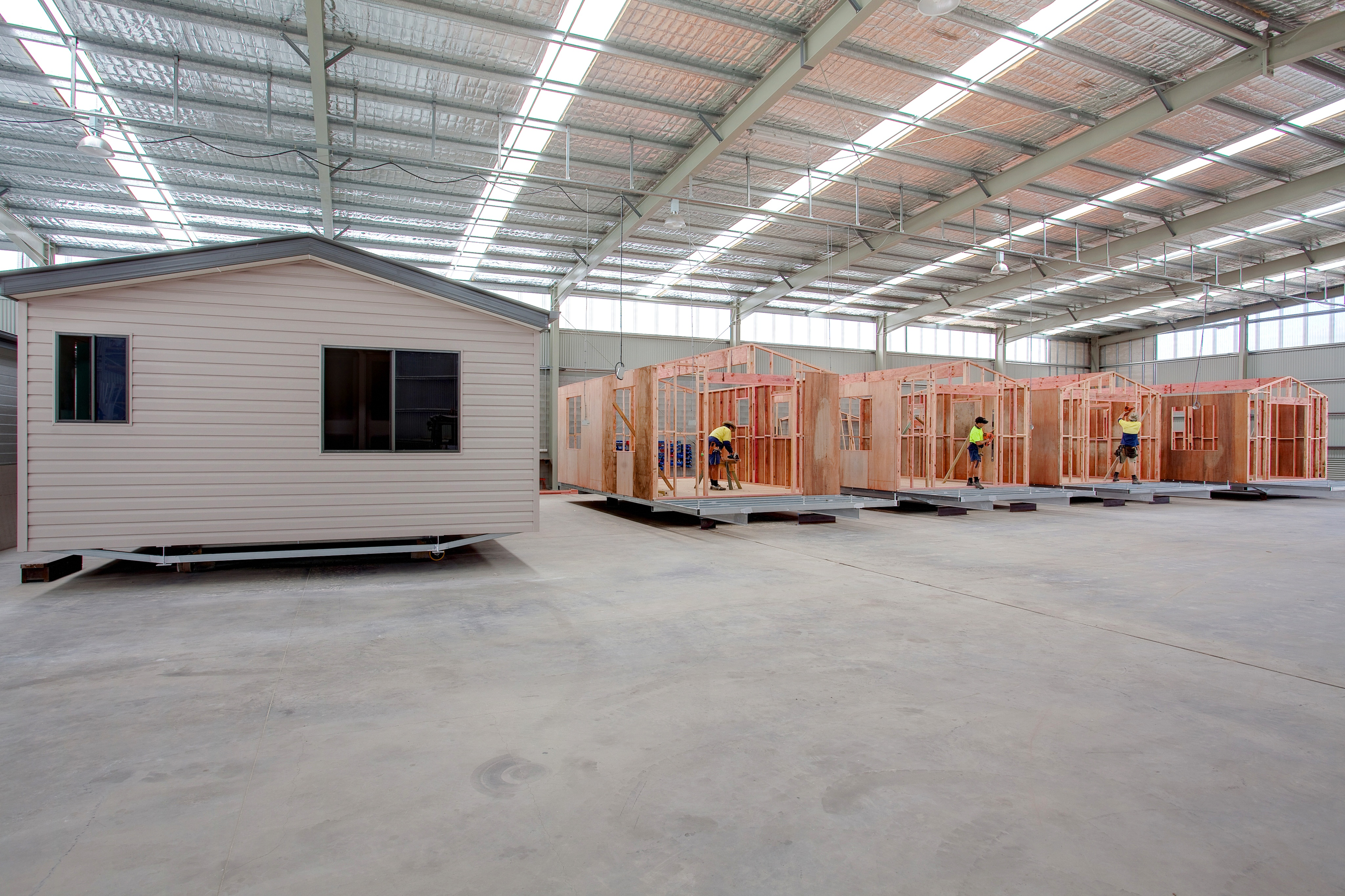 Modular Cabins being constructed in factory